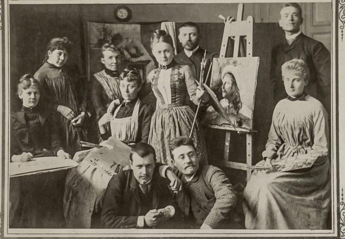 Elever i Axel Kulles målarskola 1889. Okänd fotograf