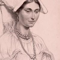 Italiensk kvinna, teckning i skissbok ca 1852. Konstakademien.