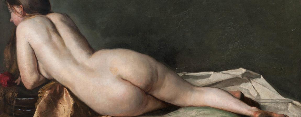 "Jenny Nyström ""Liggande modell"", 1880. Olja på duk 70 x 119 cm."